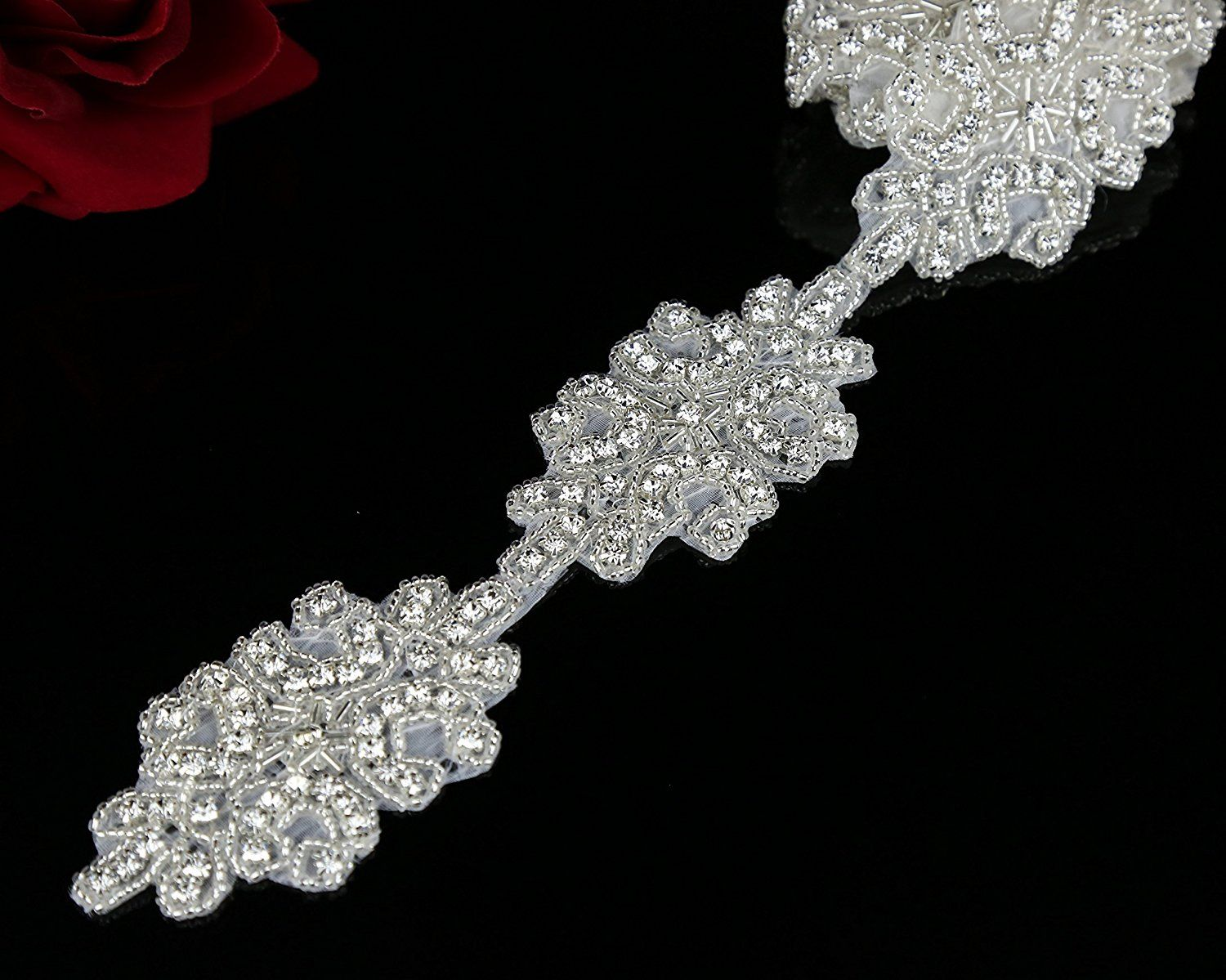 QueenDream Wedding Applique Pearl Trim Applique Fashion Headband Crystal Sash Belt Applique Pearl Rhinestone Applique Socialite Pearl Rhinestone Applique
