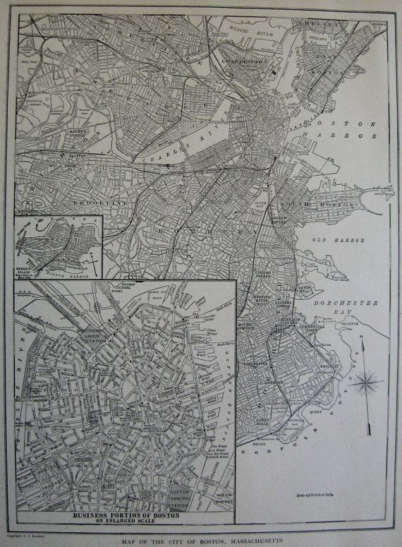 1922 antique boston map black and white map of by plaindealing 1922 antique boston map black and white map of by plaindealing gumiabroncs Images