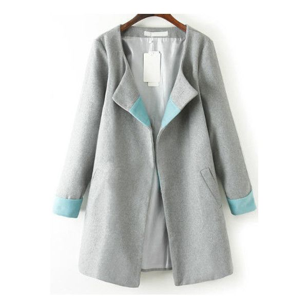 SheIn(sheinside) Grey Long Sleeve Loose Woolen Trench Coat (145 BRL) ❤ liked on Polyvore featuring outerwear, coats, jackets, abrigo, casacos, grey, gray wool coat, grey wool coat, trench coat and wool coat