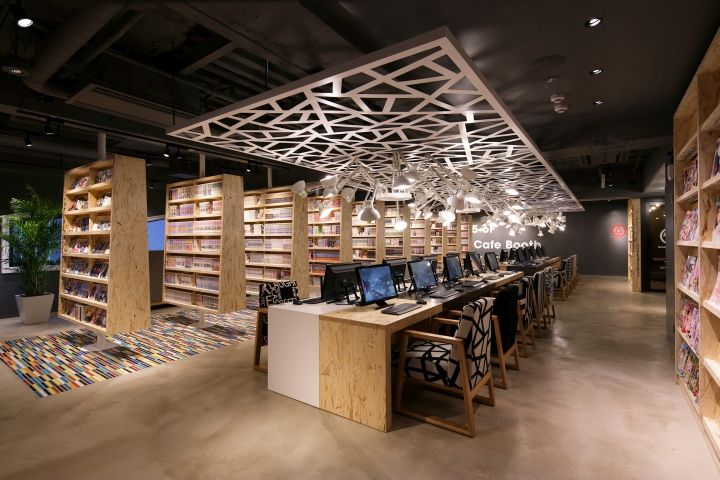 June 2015 By Retail Design Blog The New Style Internet Manga Cafe Has Been Set Up In Shinjuku Area Tokyo Store Name Is Booth