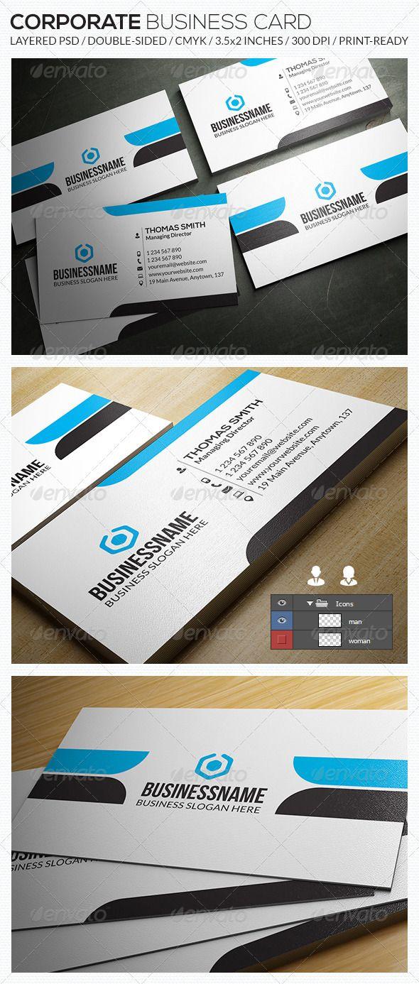 Corporate Business Card Ra33 Corporate Business Card Double Sided Business Cards Business Card Design