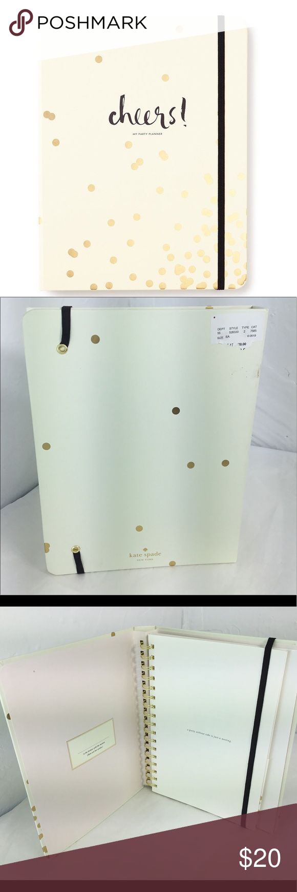 Kate Spade Gold Confetti Dot Party Planning Book Nwt Party Planning Confetti Dots Gold Confetti
