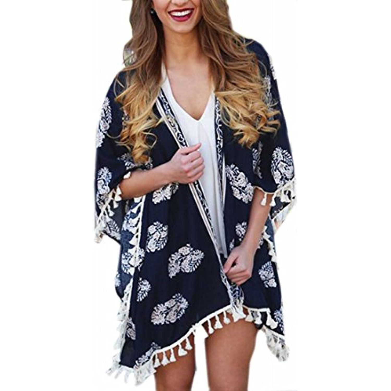 Women's Chiffon Long Sleeve Floral Tassel Loose Kimono Cardigan ...