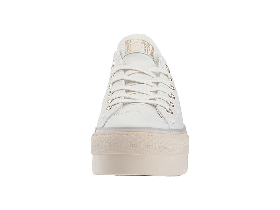 39c07b7f48f Converse Chuck Taylor(r) All Star(r) Platform Leather Ox Women s Classic  Shoes Star White Light Gold Turtledove