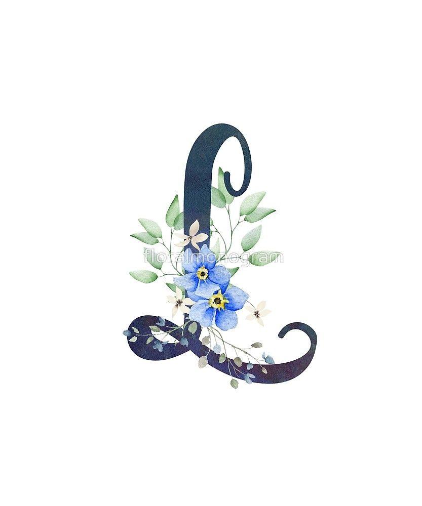 Monogram L Wild Blue Flowers Sticker By Floralmonogram Lukisan Huruf Objek Gambar Karya Seni Garis
