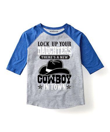 Another great find on #zulily! Heather & Blue 'New Cowboy' Raglan Tee - Toddler & Kids #zulilyfinds