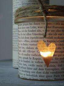 ErnestKa: Schulliteratur als Deko -Windlichter aus alten Buchseiten