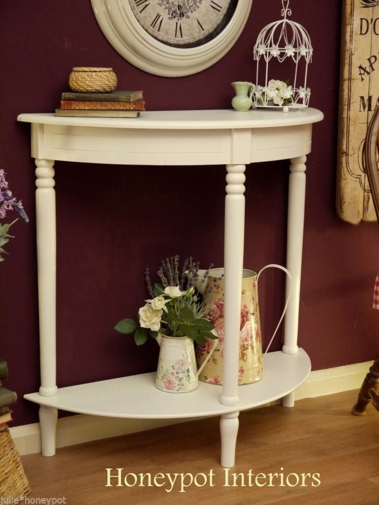 Shabby Chic Vintage Style White Console Half Moon Hall Side Table Drawer  NEW In Home,