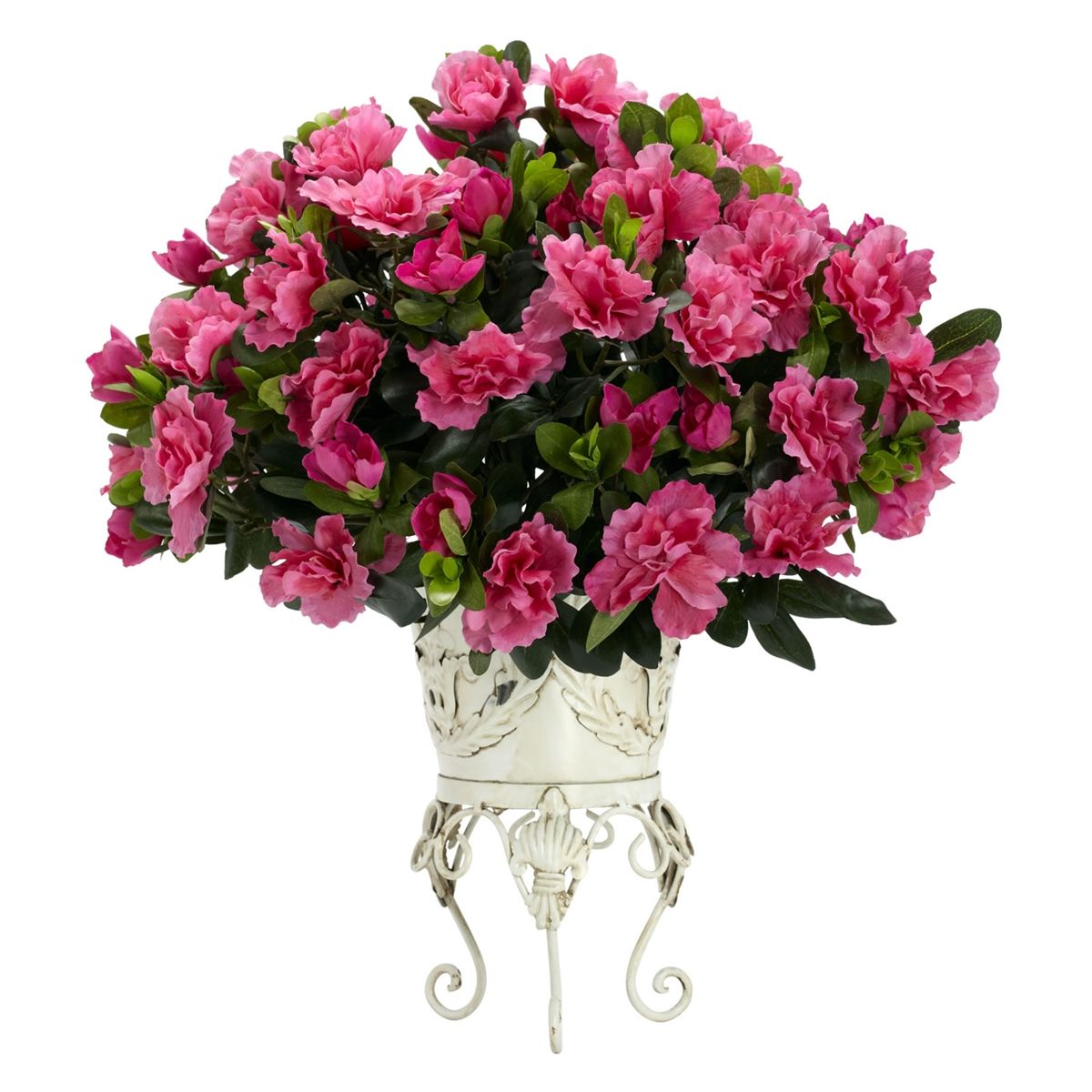 Pink Azalea Vintage Look Metal Stand Flower Arrangement Blueberry Creek Gift Baskets Silk Plants Faux Floral Arrangement Silk Flower Arrangements