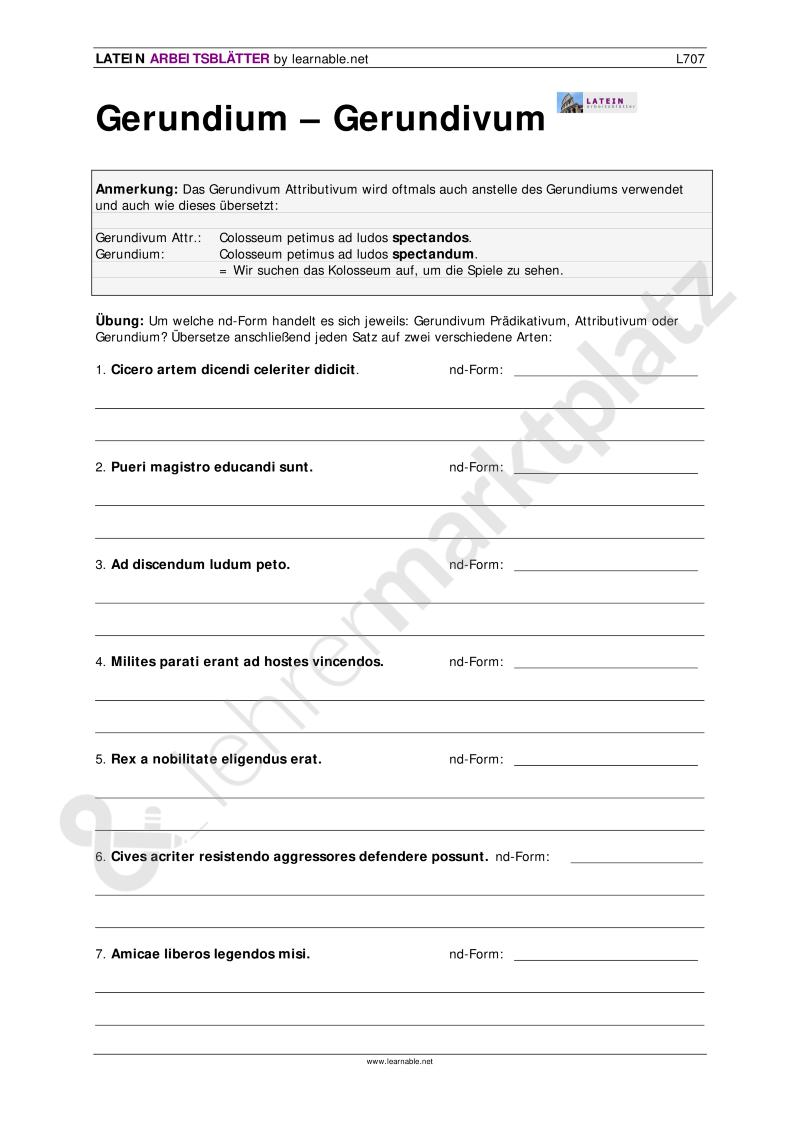 Latein: Gerundium - Gerundivum | Latein Unterrichtsmaterialien ...