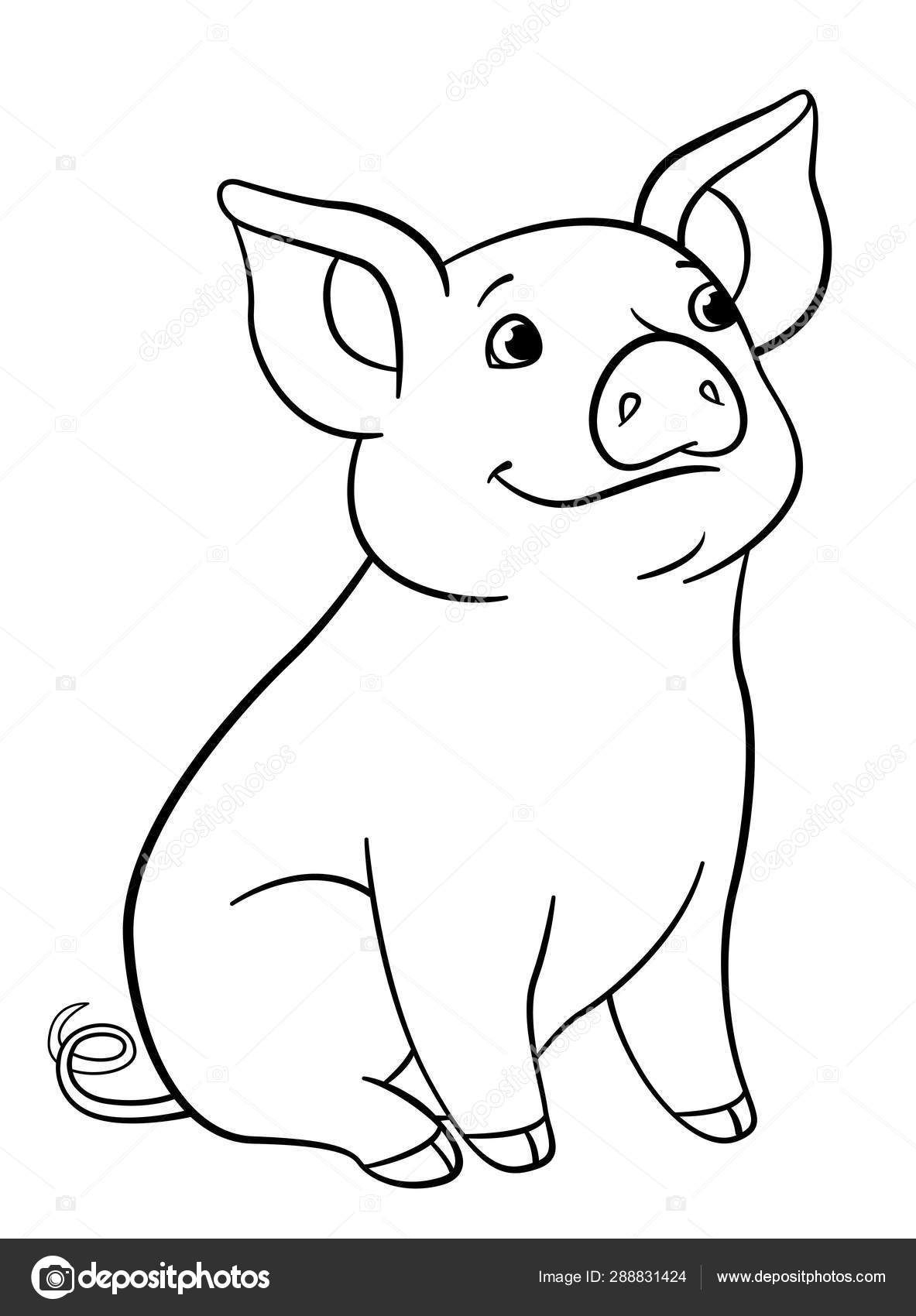 Coloring Pages Coloring Pages Little Cute Piglet Sits And Smiles Stock Pig Illustration F Elephant Coloring Page Cute Coloring Pages Toy Story Coloring Pages