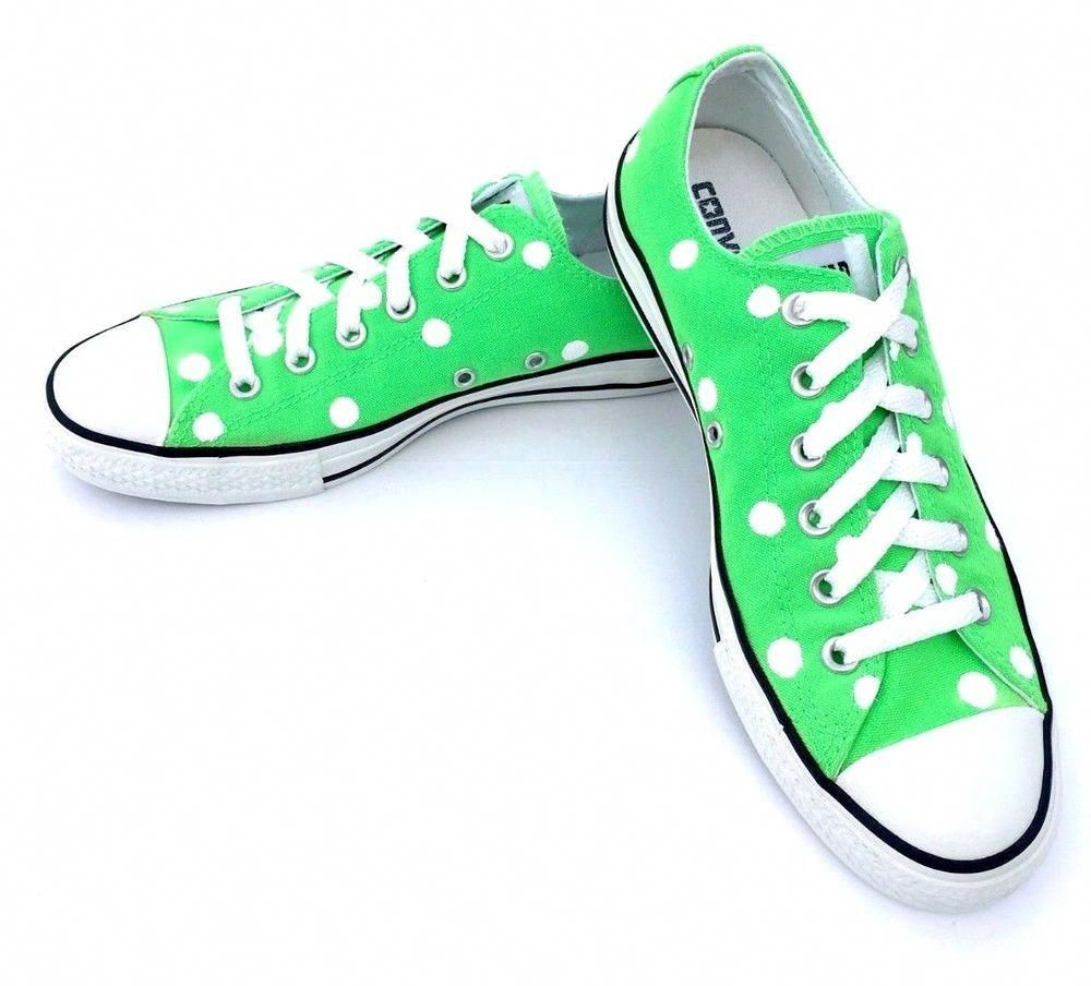 28707b6da30 Converse Women 9 Men 7 NEON GREEN Polka Dot Chuck Taylor All-Star Shoes  114061F  fashion  clothing  shoes  accessories  womensshoes  athleticshoes   ad (ebay ...