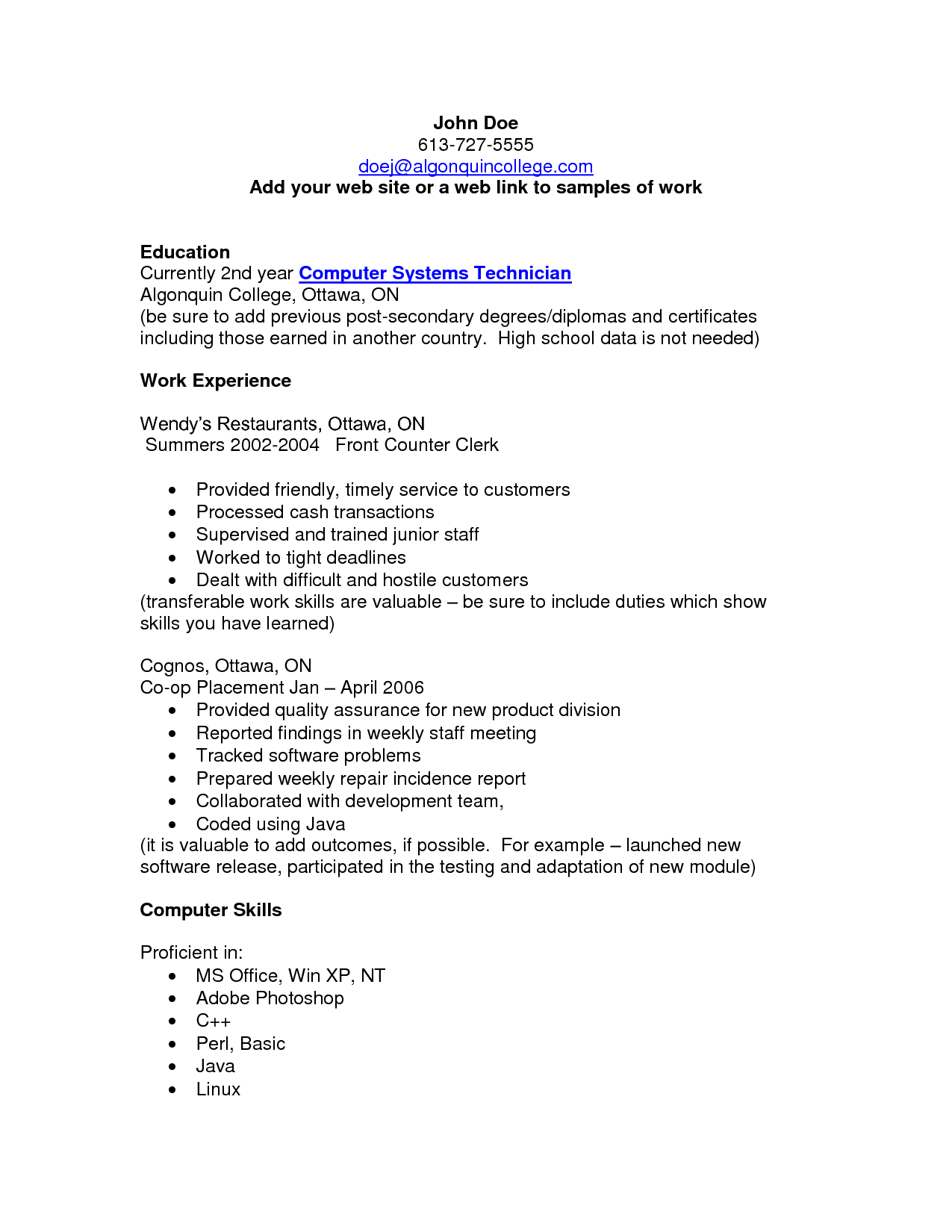 resume examples computer skills reno package for resale flat - Computer Repair Resume