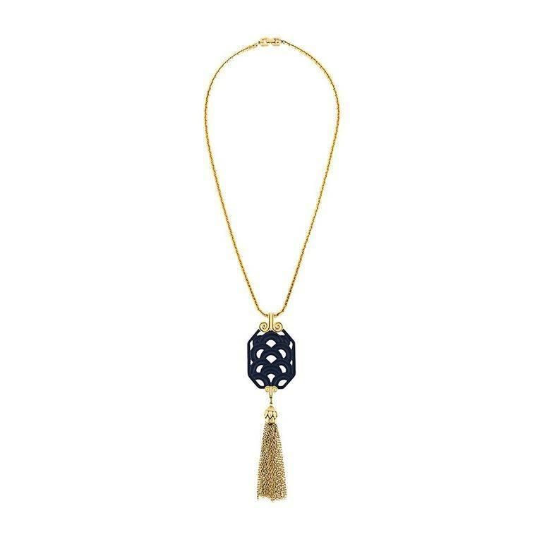 70s Givenchy blue Chinese tassel pendant