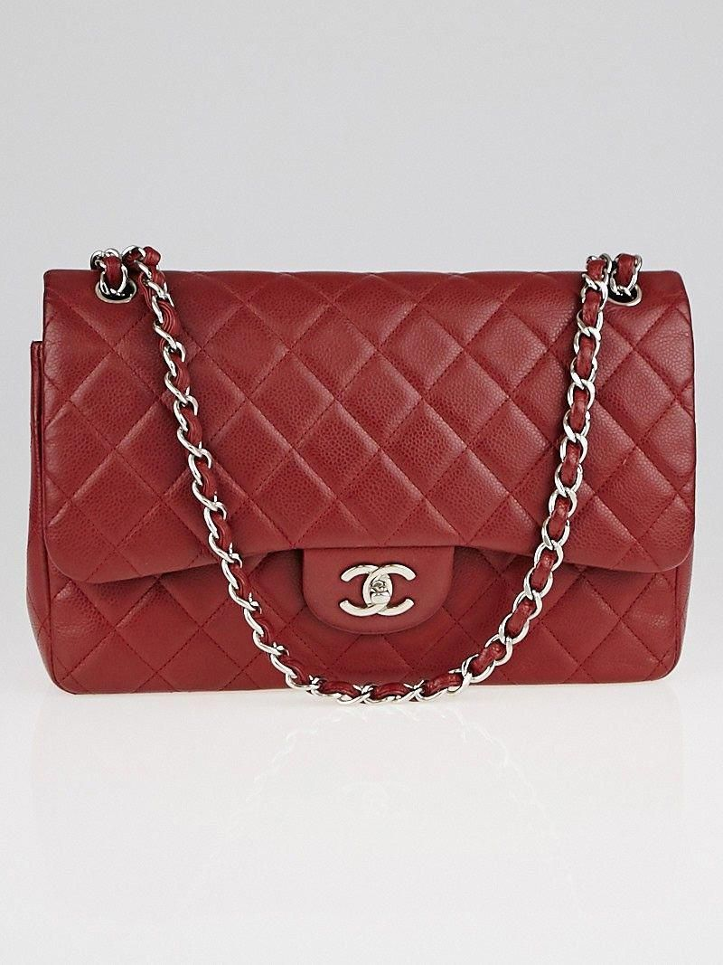 462b65dcf8e786 Chanel Dark Red Quilted Caviar Leather Classic Jumbo Double Flap Bag  #Chanelhandbags
