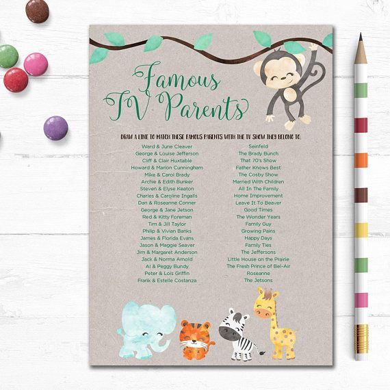 Printable Baby Shower Game Tv Parents Famous Parents Jungle Baby