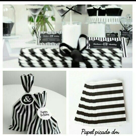 Decoración blanco y negro para fiesta, exclusivo de Papel picado.  #Stripes #BlackAndWhite