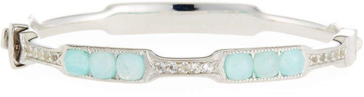 Jude Frances Moroccan Cushion Bangle Bracelet in Amazonite/Moonstone Doublet ZhxYH