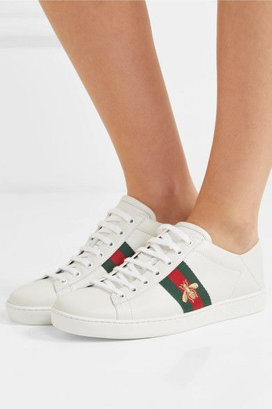 ad6ada7782a Gucci - Ace Embroidered Leather Collapsible-heel Sneakers - White ...