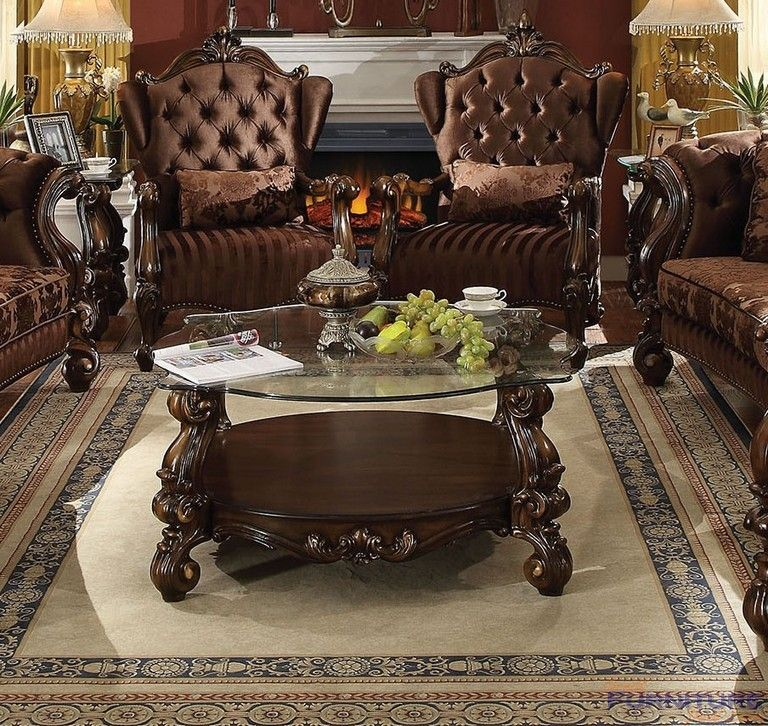 Acme Furniture Versailles Coffee Table Cherry Oak Clear Glass 82080 Acme Furniture Glass Top Coffee Table Tuscan Decorating