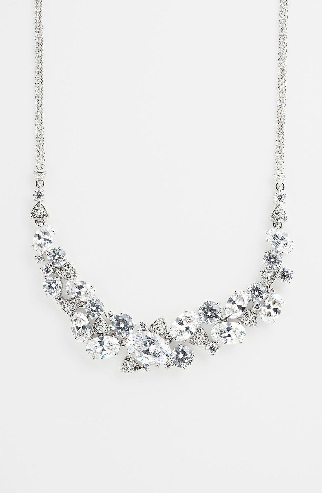 Nadri Cubic Zirconia Cluster Frontal Necklace Wedding Attire