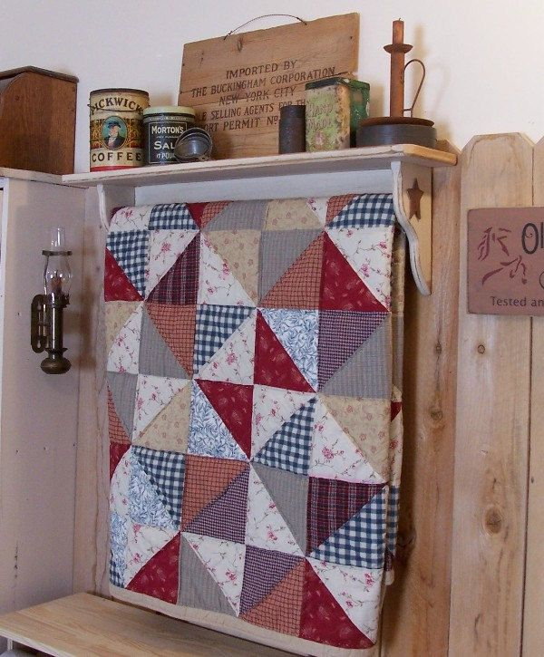Primitive Quilt Shelf Rack Handmade Shabby Chic Antique