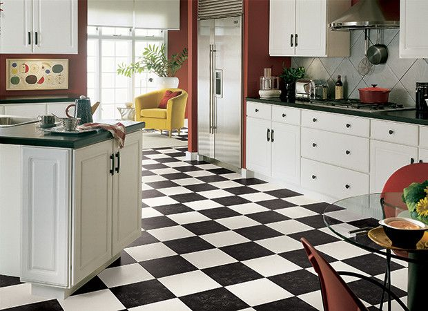 Black And White Checkered Vinyl Floor That Looks Like Tile For Kitchen Design