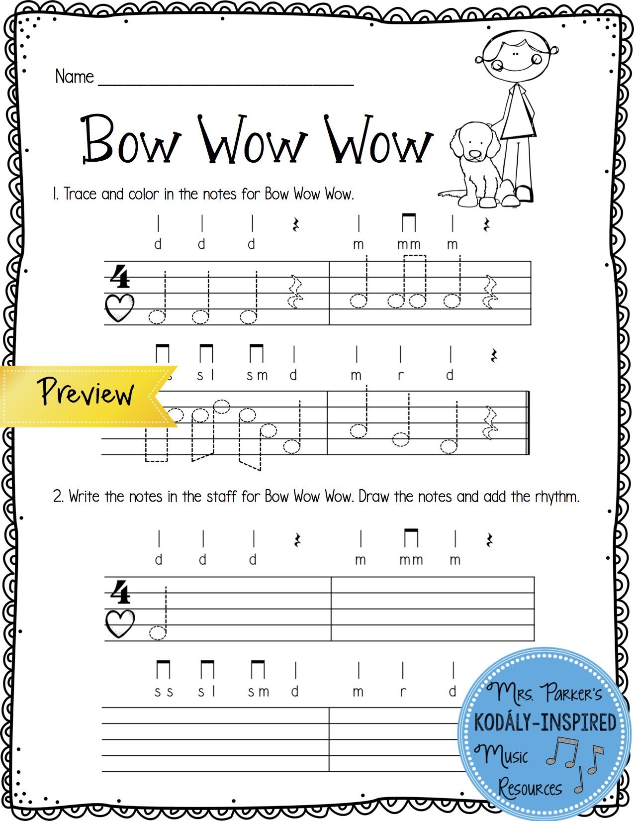Bow Wow Wow Trace and Write Worksheet from Re Worksheet Bundle. #kodaly  #musiceducation