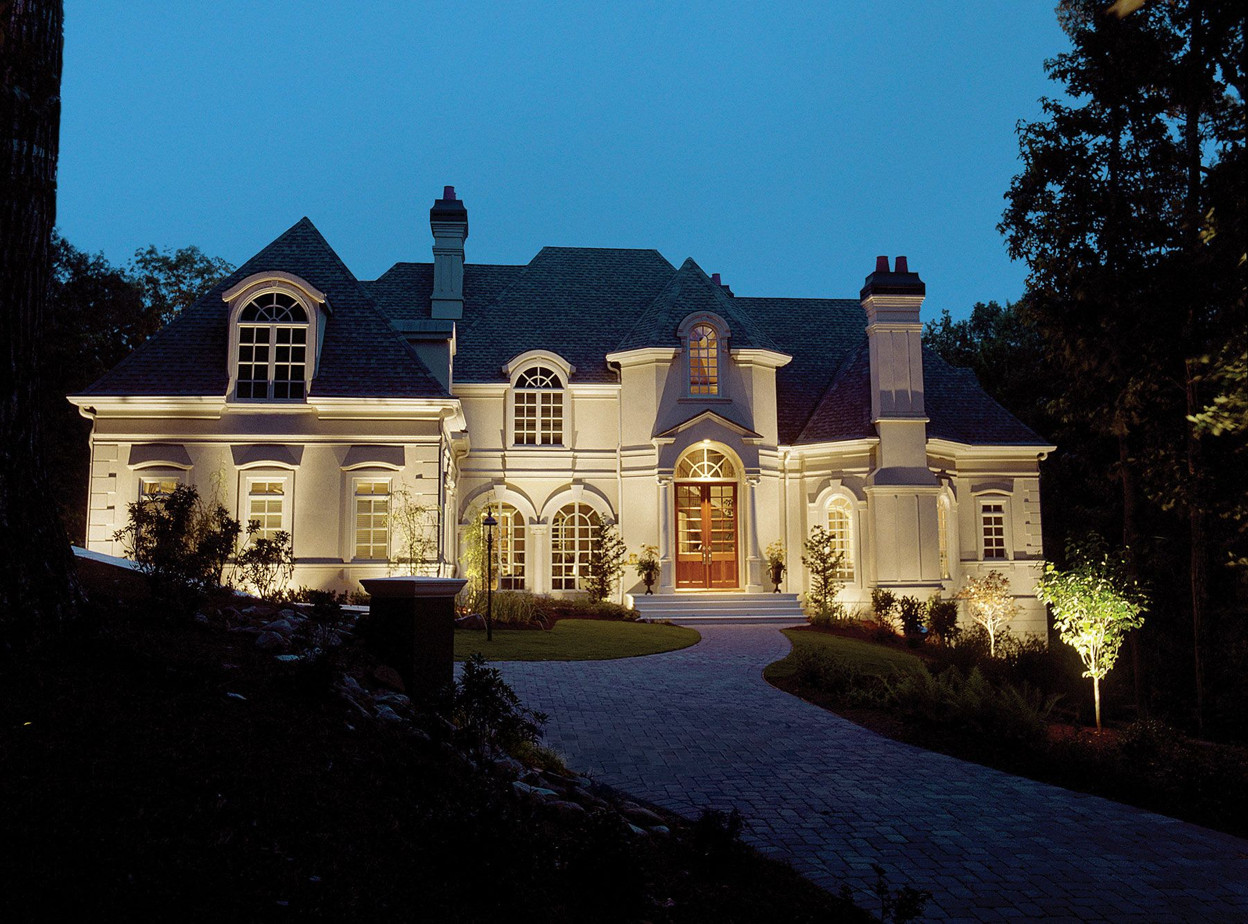 Custom designed for this stately Georgia home the Outdoor Lighting