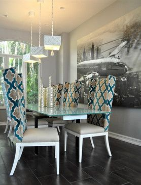 Dining Chair Plan Combining Patterned Fabric And Solid Vinyl Beautiful Dining Rooms Luxury Dining Room Reupholster Dining Room Chairs