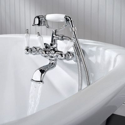 Savannah 3-Handle Claw Foot Tub Faucet with Hand Shower and Tub Polished Chrome