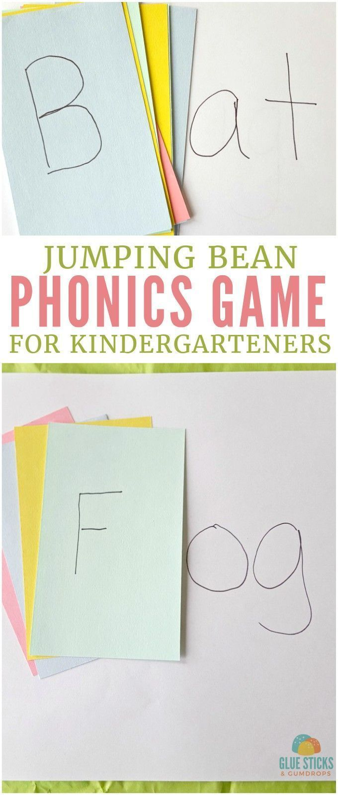 Teach your kids to spell and say simple words with this fun jumping bean phonics game for kindergarteners!