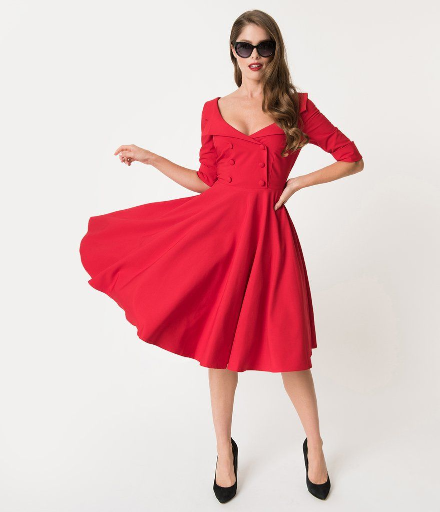 Glamour Bunny 1950s Style Red Double Breasted Faith Swing Dress