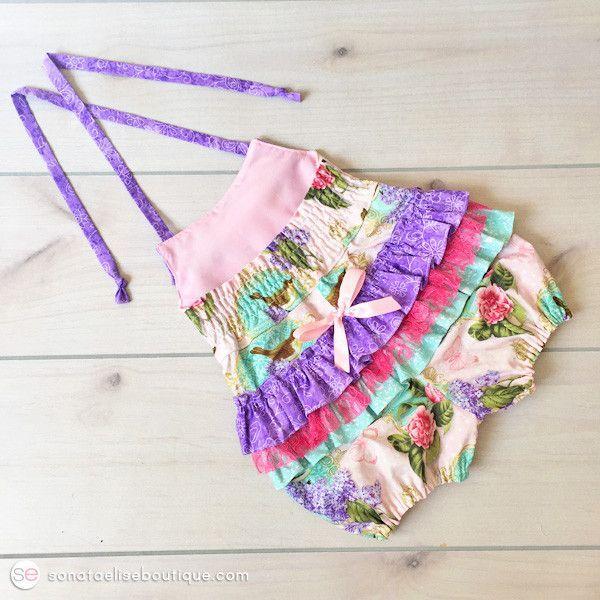 Baby Girl Ruffled Romper - Peonies & Lilacs