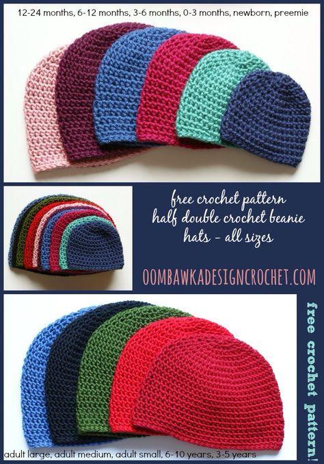 Half Double Crochet Hat Pattern | Tejer sombreros, Gorros y Patrón ...