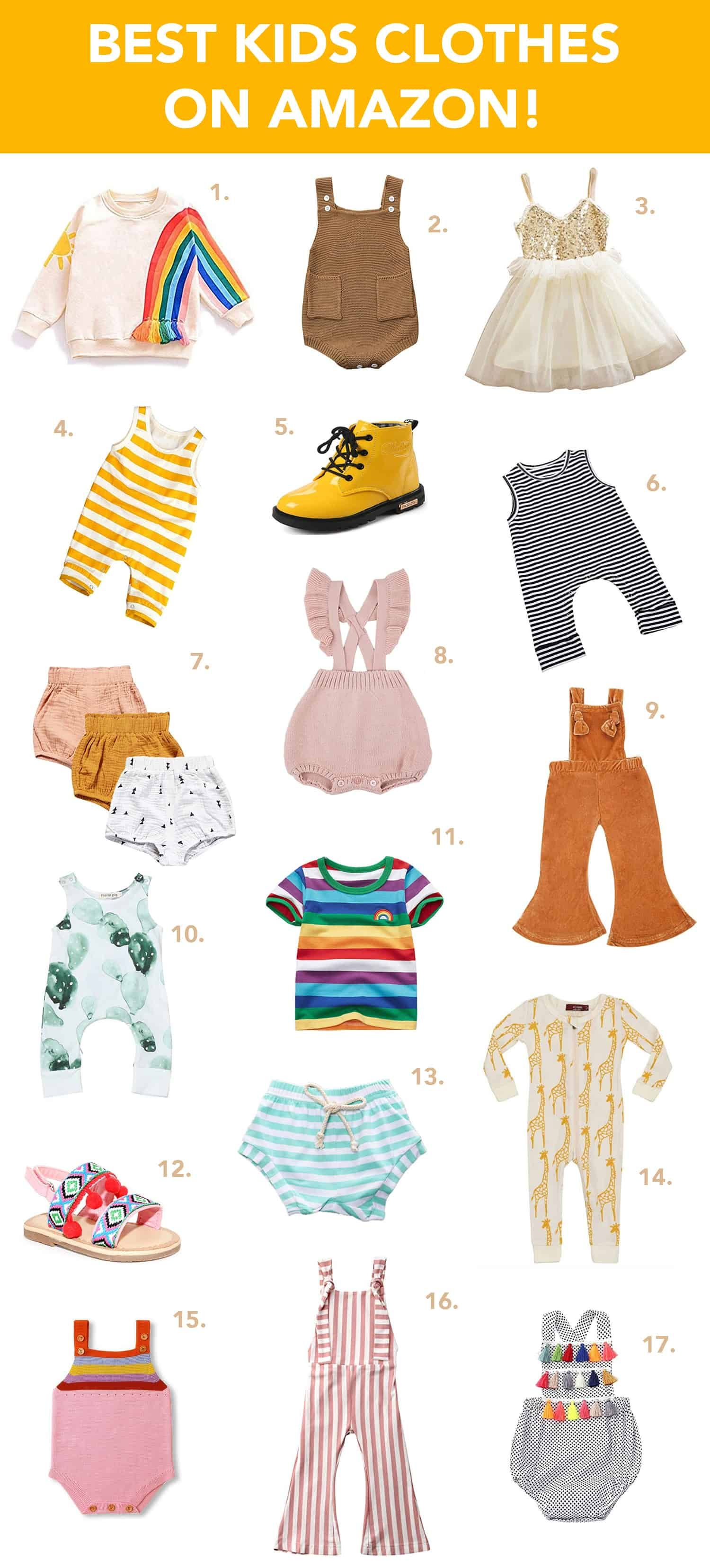 Our Favorite Kids Clothes On Amazon is part of Clothes Cute Kids - We definitely do a lot of shopping on Amazon these days and we've been finding lots of cute options for kiddos that we can throw in our cart too and get all our shopping done at once (always a plus for a busy Mom)  Here are some of our favorite kids clothes from our shopping carts or current closets right now!