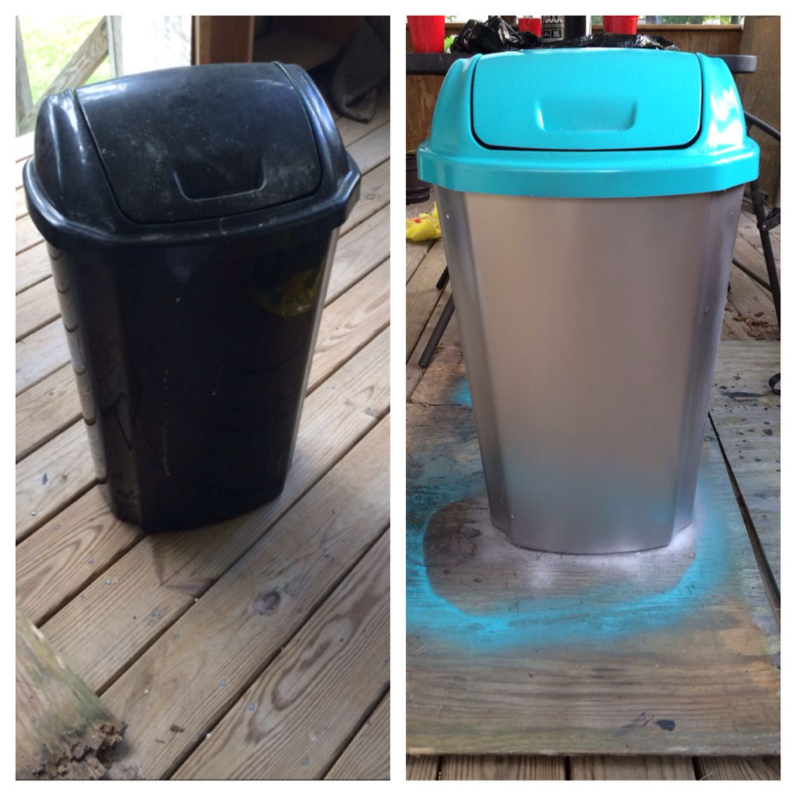 65aa260b777e Plastic trash can make over! Very cheap and super easy. Just need ...