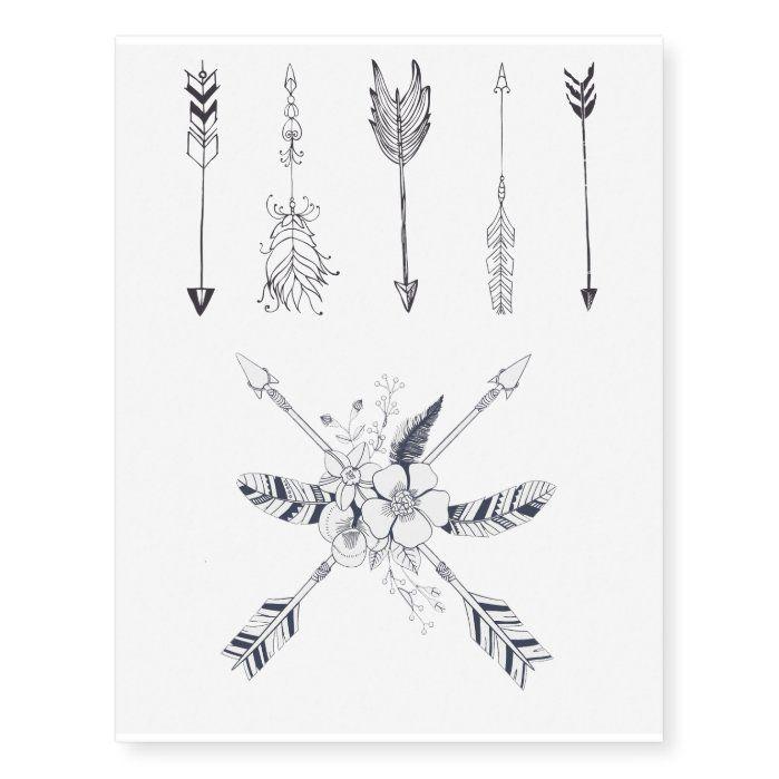 Bohemian Arrow Temporary Tattoo Sheet   Zazzle.com
