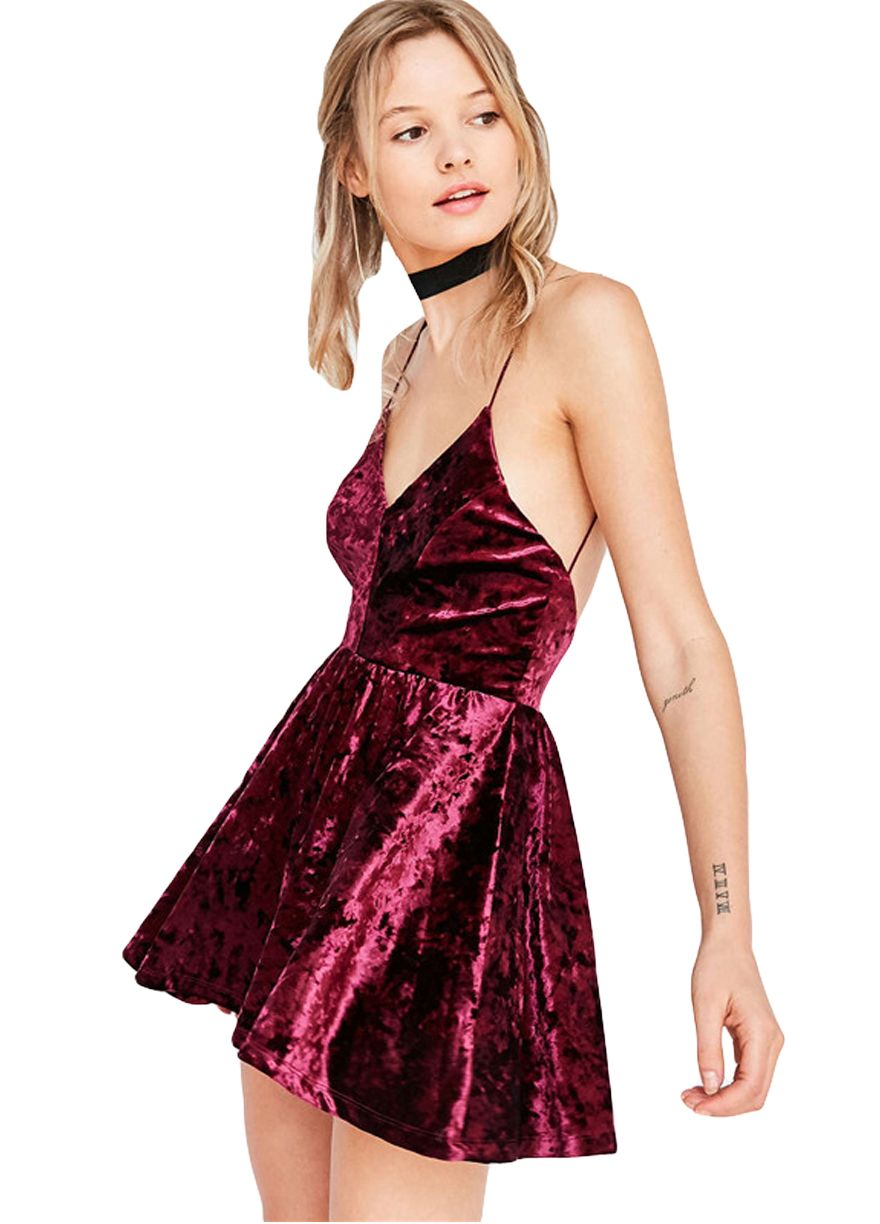 Stylish Pleated Velvet Cami Dress_Mini Dress_Dresses_Sexy Lingeire ...