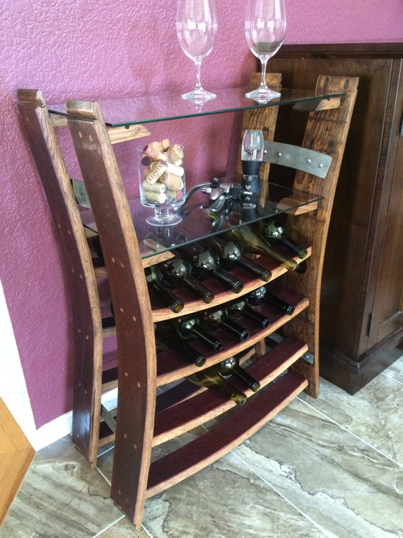 Reclaimed Wine Barrel Stave Wine Rack With Shelves Wine