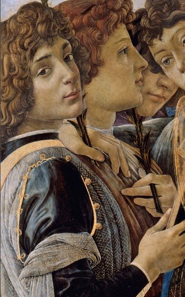 """"""" Mary with the Child and Singing Angels """"  (detail) c. 1477 oil on poplar wood by Sandro Botticelli (1445–1510) , location Gemäldegalerie, Berlin , room XVIII"""
