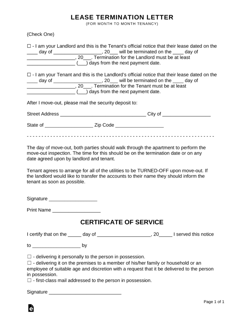Lease Termination Letters 30 Days Notice Eforms Free Fillable Forms Being A Landlord Letter Templates Rental Agreement Templates