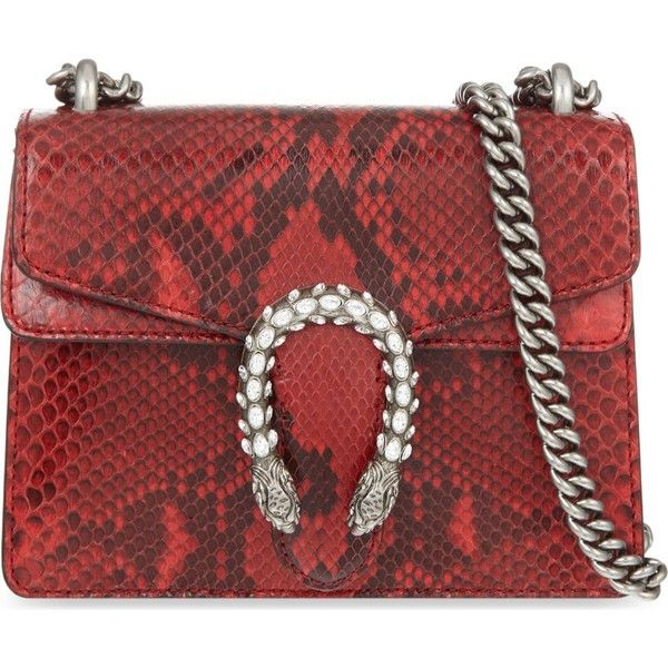 b797ed8008 GUCCI Dionysus Swarovski snakeskin shoulder bag ($2,510) ❤ liked on  Polyvore featuring bags, handbags, shoulder bags, red, shoulder strap  handbags, python ...