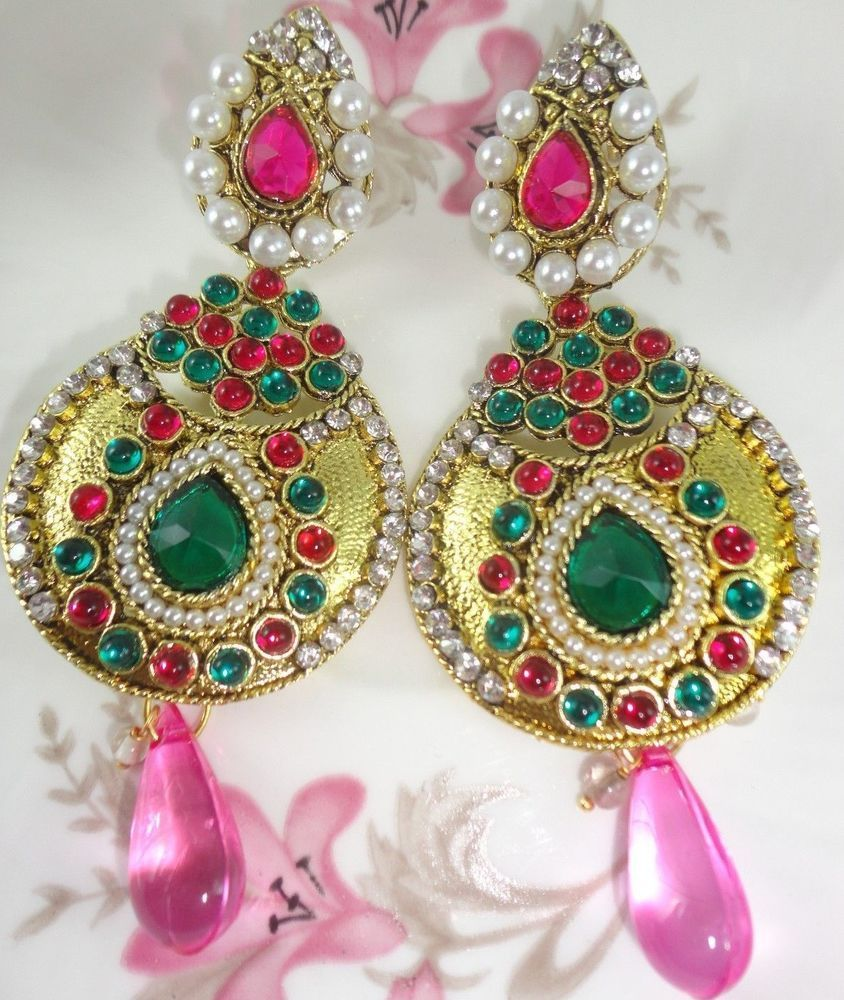 New indian bollywood kundan pearl designer women gold tone earrings