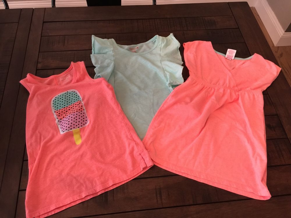 4337c9485ab Summer Spring Girls 6 6x Cat and Jack Target tops neon tunic euc t shirt -