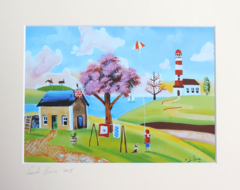 Flying A Kite Signed Art Print From A Folk Art Landscape