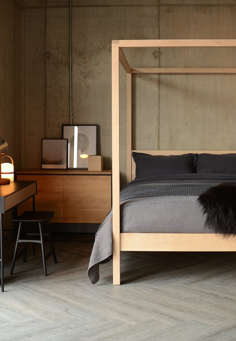 The orchid 4 poster bed in solid maple wood exclusive from natural bed company bedrooms