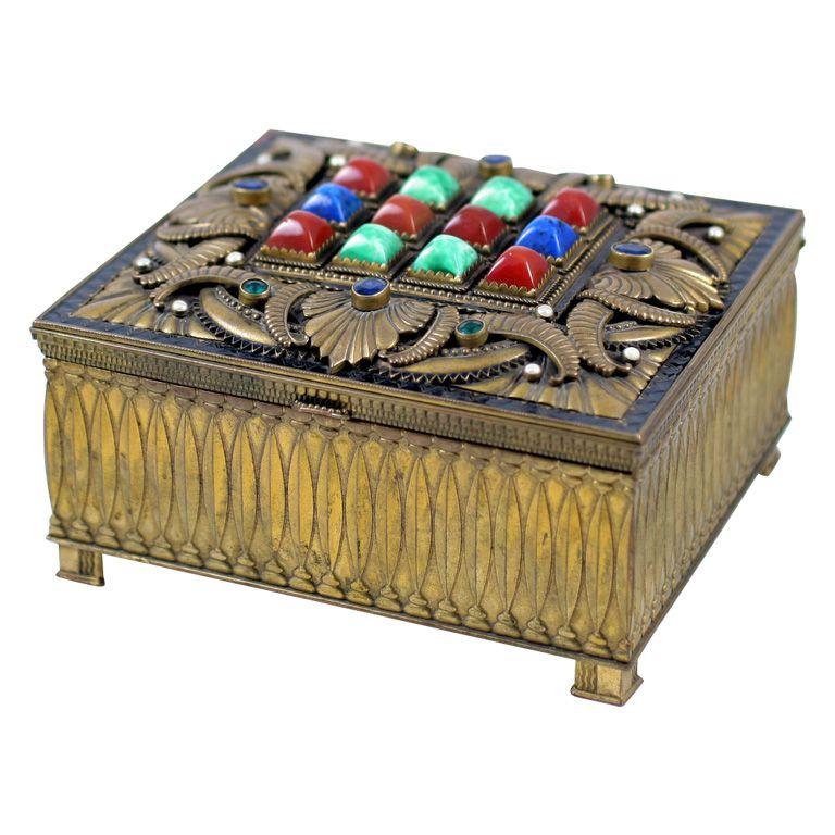 Jewelry Box with Semi Precious Stones AustriaCzechoslovakia circa