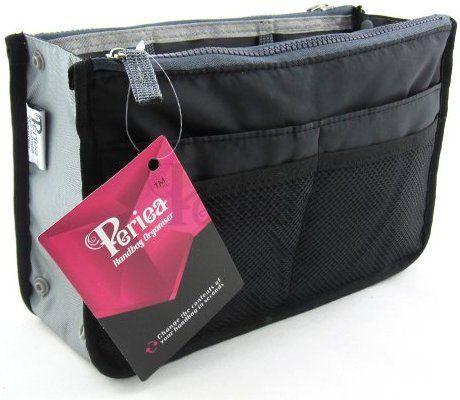 Periea Beauty Cosmetic Handbag Organizer Liner Insert 12 Compartments Chelsy Black Medium