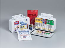"""@ShopAndThinkBig.com - This 46-Piece, 10-Unit Ansi Compliant Kit Holds All 8 Ansi Required Items In A Sturdy Metal Case With Gasket. The Kit Also Includes A 4""""x5"""" Cold Compress And A 40-Page First Aid Guide. Meets Ansi Z308.1-2003 Requirements.Kit Includes:(1) An-146: 1""""x3"""" Adhesive Plastic Bandages, 16/bx(1) An-206: 3""""x3"""" Gauze Dressing Pads, 4/bx(1) An-205: 32 Sq. In. Absorbent Gauze Compress, 1/bx(1) An-5071: 40"""" Triangular Sling/bandage, W/2 Safety Pins, 1/bx(1) An-337: Antiseptic…"""